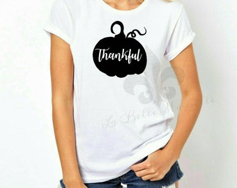 Women's Custom Thankful Pumpkin Thanksgiving Shirt - Women's Thankful Thsnksgiving Shirt