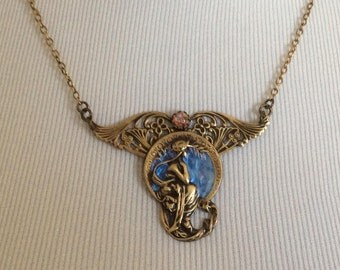 Victorian Lady Necklace , Custom Jewelry Pendant Necklace, OOAK, Unique Gift Under 35