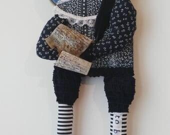Shakespeare-art doll-wall hanging-OOAK-writers-literature-portrait-decoration