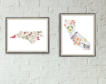 CHOOSE ANY 2- State Flower, Fruit, & Bird Pattern
