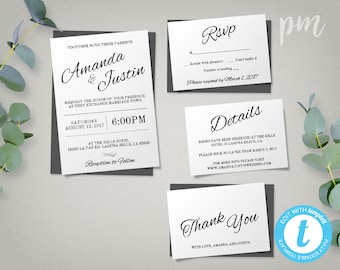 Printable Wedding Invitation Template, Printable Invitation Suite, Complete Invitation Set, Instant Download Modern Wedding Template
