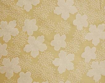 """Home Decor Cotton Fabric, Floral Print, Beige Fabric, Sewing Craft, Dress Material, Quilting Fabic, 44"""" Inch Fabric By The Yard ZBC6096"""