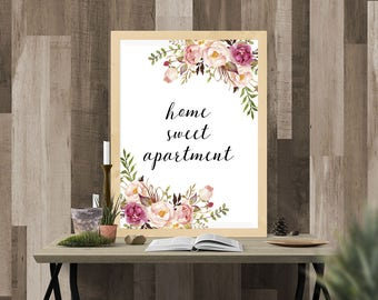 Home Sweet Apartment Print, Floral Watercolor Print,  Home decor, house warming gift, Watercolor Decor, flower, 16x20 11x14 8x10 5x7 4x6