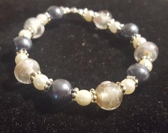Slate Blue and Rose Lampwork Bracelet