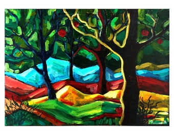 Abstract art forest Interior painting for home decor Art Forest wall Art decor Living room Home living art Minimalist art Abstract painting
