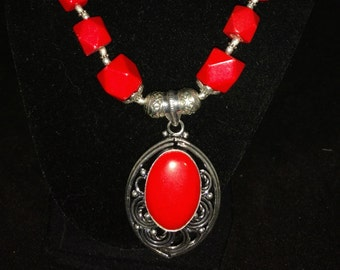 Beautiful Chunky Coral Necklace and Earring Set