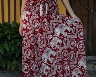 Red Beautiful Bow Tie Elephant Maxi Skirt Rayon Skirts Elastic Waist Summer Skirt Floor Length Long Skirt