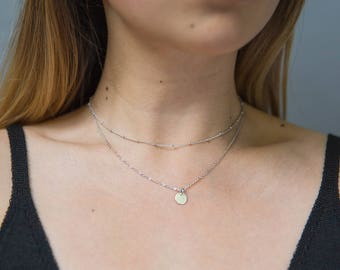 Silver Layered Necklace / Dainty Satellite Necklace / Delicate Coin Necklace / Bridesmaid Necklace / Silver Satellite Necklace /Gift for Her