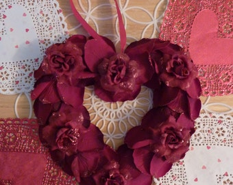 Heart and Rose Hanging Ornament Valentines Heart w/ Silk Roses Rose Petals Decoration Hanging Wedding Decor Silk Rose Arrangement Vintage