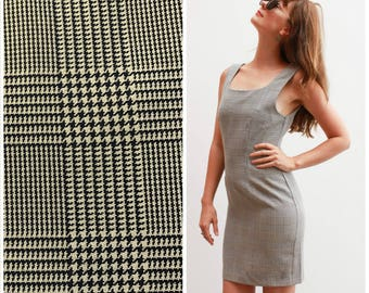 Vintage 80-90s Mini Dress / Houndstooth Checks / Size 8-10
