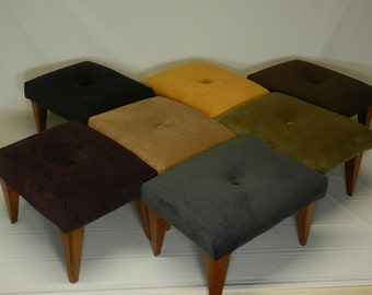 Art Deco Tufted Suede Foot Stool