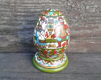 Hand Painted Easter egg, wooden egg decorated russian ornaments. Easter gift.Russian folk art.