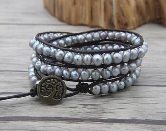 BOHO Pearl wrap bracelet Grey pearl bracelet freshwater pearl leather bracelet 3 rows  bead wraps bracelet  jewelry SL-0482