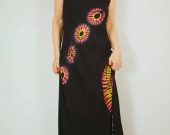 Tie Dye Maxi Dress Sunshine Yellow and Pink on Black Festival Dress Evening Dress Holiday Dress