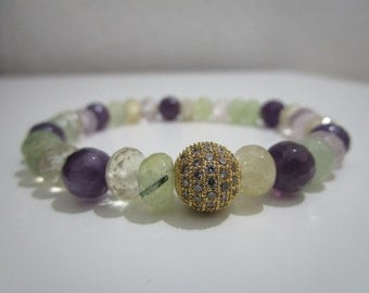 Amethyst, Rose Quartz, Prehnite and citrine semi-precious stones, gift, gift for woman, Micropave bracelet with cubic zirconia