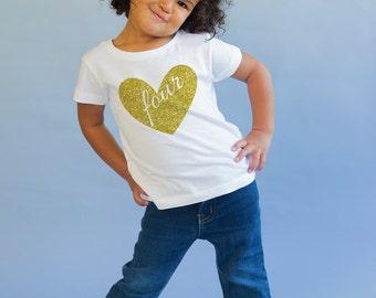 Four Birthday Top - Birthday Shirt - Birthday Girl - 4th Birthday Shirt - Four Year Old - Birthday Gift- 4th Birthday Outfit