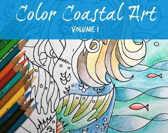 30 original ocean designs to color - Color Coastal Art Volume 1 - Full Size coloring book - Spiral Binding - adult coloring book - cardstock