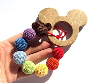 Teether Mickey Mouse,Baby Theether,Teething wood toy,Eco-friendly toy,Crocher toy,Toy for babies,Teething necklace,Gift, Natural toy