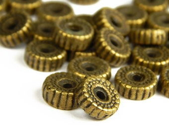 10 Pcs - 10x4mm Bronze Spacer Beads - Antique Bronze - Metal Spacer Beads - Jewelry Supplies