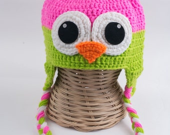 Crochet owl Hat, Toddler Animal Hat