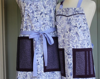 Apron Set--Mom and Me Purple Curlicues Reversible Apron Set
