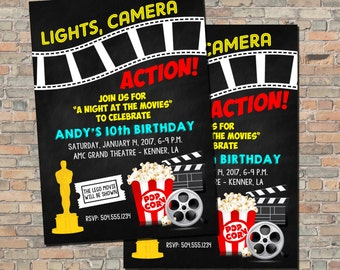Movie Party Invitation, Movie Birthday Invitation, Movie Night Invitation, Movie Theme Invitation, Digital Printable Invitation