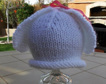 Hand Knitted Baby Hat, White Baby Hat, White Baby Bunny Hat, Baby Bunny Hat, Photo Prop Hat, Spring Baby Hat