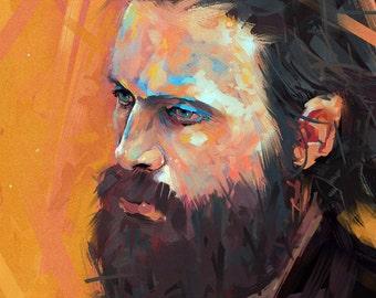Father John Misty Art Print A4 Musician Poster Painting Josh Tillman Fleet Foxes Indie Folk Rock