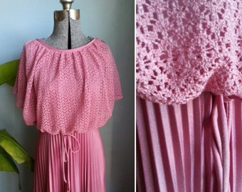 vintage crochet pleated dress