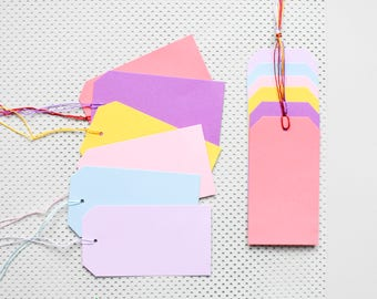 12 pastel paper tags, colored paper parcel tags, candy colors parcel tags, colorful gift tags
