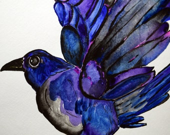 Crow Painting Print 11x14 Black, Purple, Teal, Blue