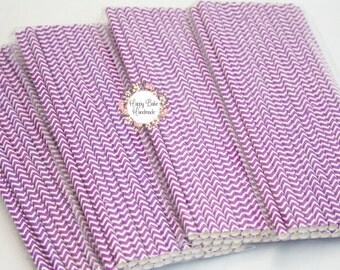 Purple Straws, Chevron Straws, Purple Chevron Straws, Pack of 25, Purple Paper Straws, Cake Pop Sticks, Purple Party Decor, Paper Straws
