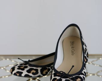 1990s Leopard Ballet Flats - Slip On - Animal Print - Leather - Pony Hair - Max de Carlo - Made in Italy - Size 6.5/7 US EUR 37