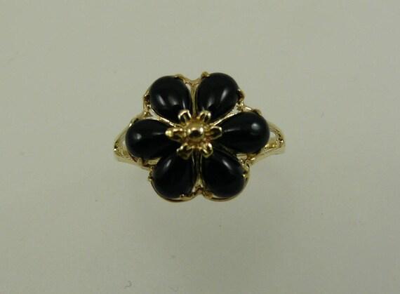 Black Onyx 4.0 x 6.0 mm Ring 14k Yellow Gold