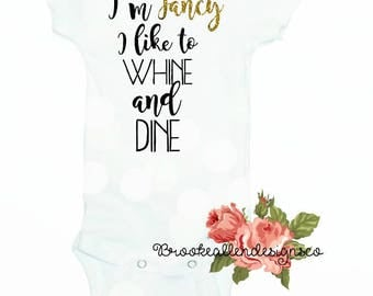 Funny baby onesie-Funny Baby Onesie Gift--Funny ONesie-Funny-Funny newborn outfit-Funny Baby shower gift-Funny-Whine and Dine-Cute Baby