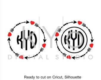 Valentines Day SVG cut files, Love Heart SVG, SVG, Arrow Monogram Frame svg, cuttable svg files for Cricut and Silhouette Cameo #svg