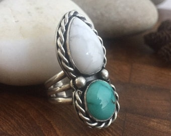 Turquoise Ring, Wide Band Size 6 1/2, Double, Statement, Boho, Hippie, December Birthstone, Howlite