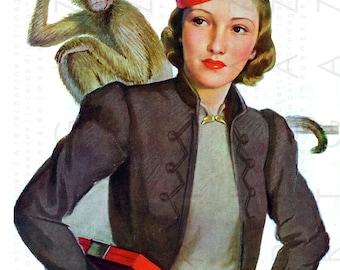 STUNNING FLAPPER With Cute Monkey Art Deco Illustration. Flapper Bellboy Costumes. Flapper Digital Download.