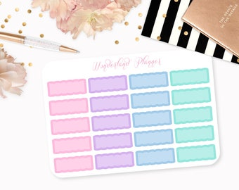 Pastel Scallop Quarter Boxes Functional Planner Stickers // Quarter Box Designs // Perfect for Erin Condren Vertical Life Planner