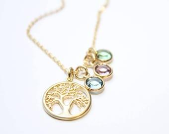 gold family tree necklace, family tree necklace,gold family tree birthstone necklace, family tree pendant necklace, gold family tree jewelry