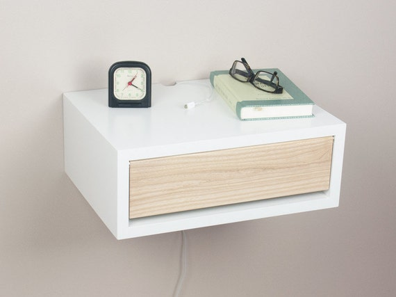 contemporary nightstand with door floating wall by sparkshellcraft. Black Bedroom Furniture Sets. Home Design Ideas