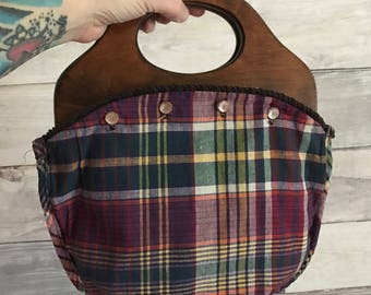 Small Vintage Bermuda Bag plaid reversible wooden handle purse