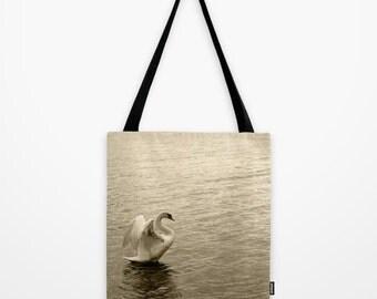 Market Bag, Tote Bag, Swan, Shoulder Bag,Fine Art Photography, Animal Bag, Black,White, Lake,Nature,Holiday Bag,Animals,White Swan Swimming