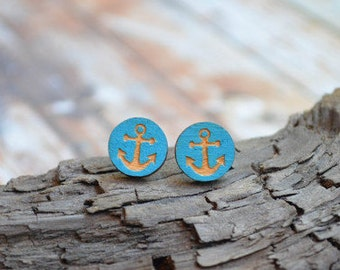 Earrings from wooden * anchor *.