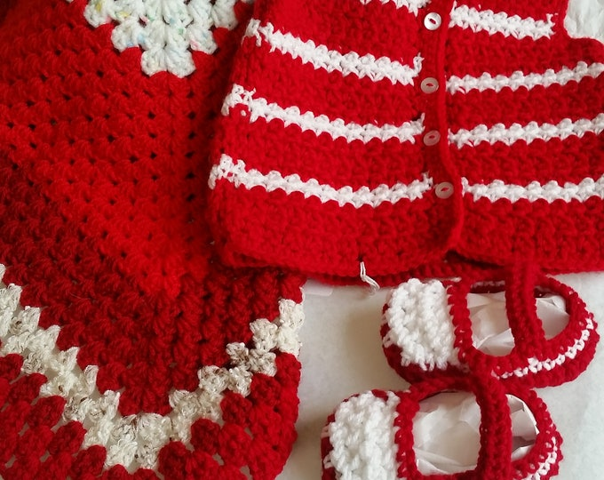 Red & White Baby Set | Baby Clothing Set | Crochet Baby Vest | Baby Shoes | Baby Booties | Security Blanket | Stripes | 6 to 12 months old