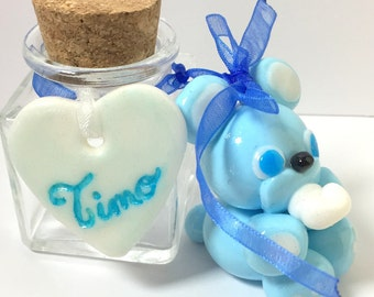 fact hand/fimo/container for dragees/jar/jars shower glass/bear/Teddy/blue/thumbnail/glitter/candy/baptism/baby /