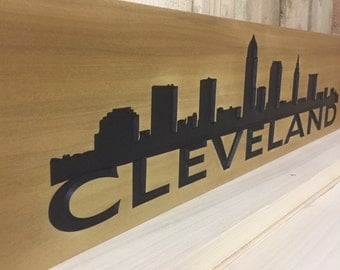Cleveland Skyline Carved Sign | A beautiful ode to the city of Cleveland.