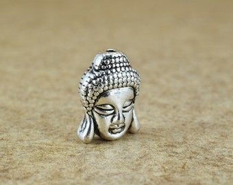 Solid Buddha Head Beads Two Side Face Tibetan Style Antique Silver Alloy Metal Bracelets Charm Size 15x11x8mm Hole Size 1.5mm For Jewelry