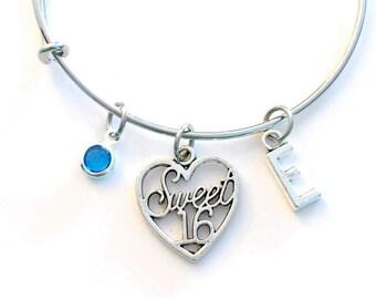 Gift for Sweet 16 Birthday Present, Sixteen Jewelry, Charm Bracelet, Teenage Girl Bangle Silver initial birthstone Daughter Teen Niece BFF
