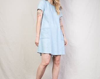 AMAZING Vintage Raw Hem Denim Dress / S / 90s grunge hipster summer mini dress with pockets and drawstring